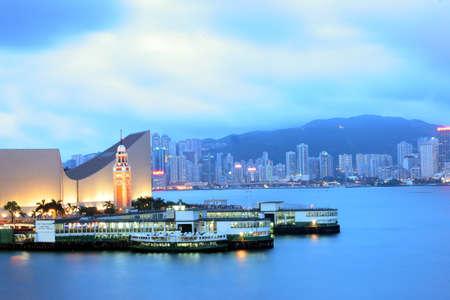 15 may 2005 the star ferry pier at Hong Kong night view Editorial