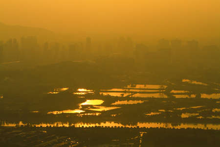 view at Kai Kung Leng, fish pond of Nam Sang Wai, Yuen Long Stock fotó