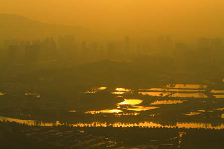 view at Kai Kung Leng, fish pond of Nam Sang Wai, Yuen Long