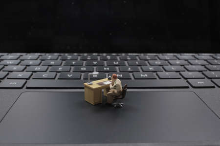 The mini of security figure are working on laptop