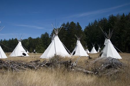 Villate of teepees Stock Photo
