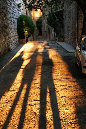 Shadows in Assisi Stockfoto