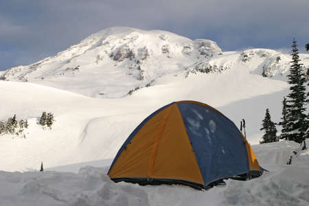Tent on Rainier Stock Photo