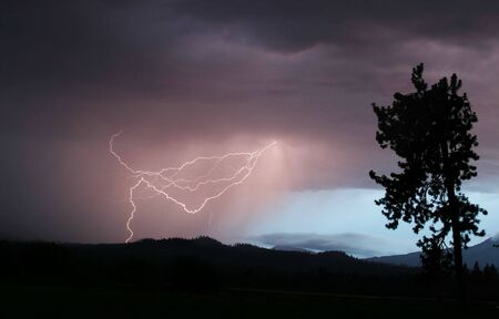Lightning Strikes Once Stock Photo