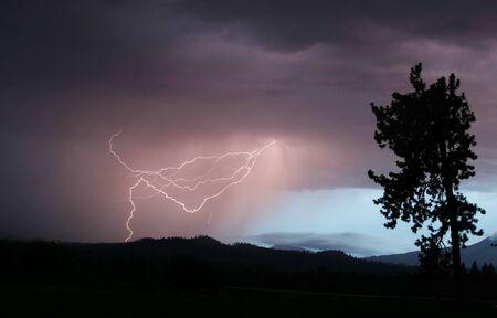 Lightning Strikes Once Stock Photo
