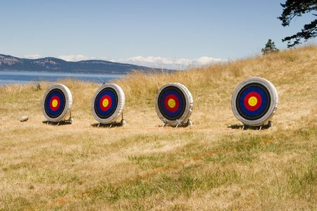 Archery target range Stock Photo