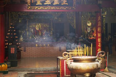 Buddhist temple interior in Vietnam Stock Photo - 571937