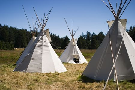 A small group of four teepees forms a small camp in a meadow surrounded by forest. Teepees were traditional housing for Native Americans in Great Plains and other Western states.