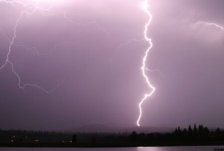 A single strong lightning bolt that reaches from the sky to the ground.