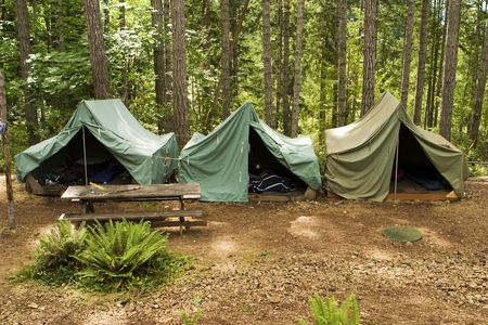 campground: A group of canvas tents at a boy scout campground.