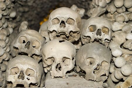 Six human skulls are piled on top of each other in a ossuary (or bone church) located in the Czech Republic. A scary image for ! photo