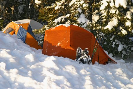 Snow camping at a campground site in the snow with a tent partially covered by snow from the night before. This tent is tucked into the trees to provide some partial shelter from the snow.
