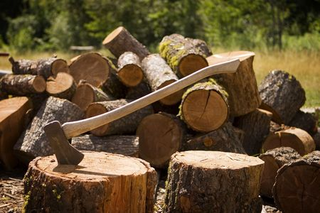 A woodsmans axe, at rest in a block of wood, which is in front of a large pile of cut logs.