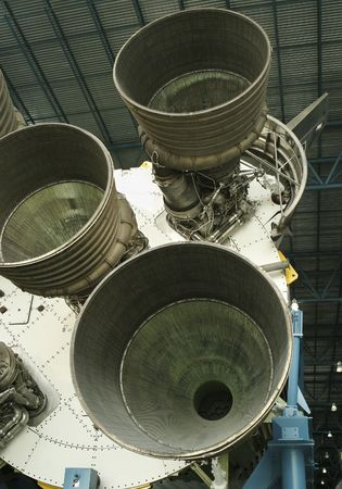 are thrust: A view of the powerful rocket engines, afterburners, and thrusters of a space-capable rocket