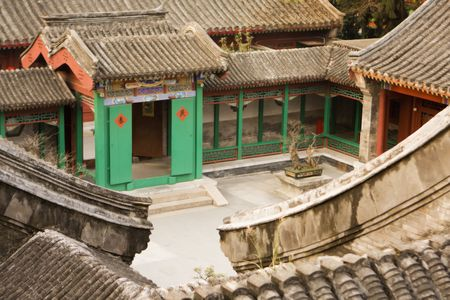 A modern replica of a traditional courtyard in a small rural Chinese Village.