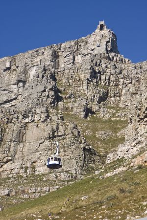 A view of a gondola ascending to the terminal at the top of Table Mountain. This is a landmark tourist attraction in Cape Town, South Africa. Stock Photo - 3628717