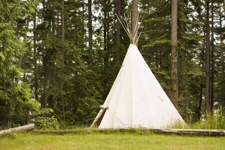 tipi: A single, solitary teepee in a field. Teepees are used in many summer camps as shelter for the campers.
