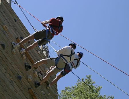 Three climbers at the top of a climbing wall are just starting the rappel down to the ground. The climbers are roped together for a teamwork activity and are being held, for saftety, by several ropes on belay. Stock Photo