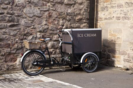 cart: An ice cream cart is built on a bicycle in Edinburgh. Stock Photo