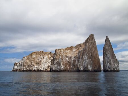 cristobal: Kicker Rock, or Leon Dormido, is a desolate, barren rock off San Cristobal Island in the Galapagos that is a favored spot for snorkeling and scuba diving.