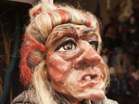 likeness: A near-lifesize head of a traditional Czech marionette in the likeness of a witch.