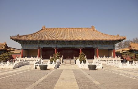 main gate: The Halberd Gate is part of the Peoples Cultural Palace (previously the Taimiao Ancestral Temple) in Beijing. This traditional Chinese building, with the low bridges in front of it that cross a smal pond, was the gate to the main courtyard of the complex Editorial