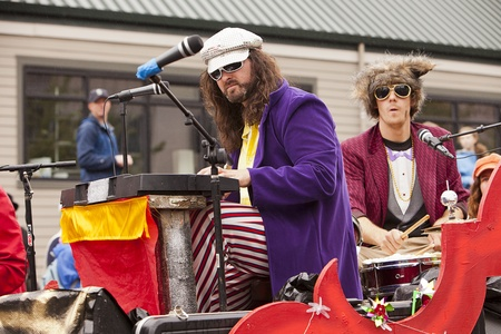 nontraditional: Seattle, Washington - June 18, 2011:  Members of the Phish-y! ensemble lip-synch their way through annual Fremont Solstice Day Parade. The parade celebrates the summer solstice and features a number of alternative, non-traditional artistic ensembles.