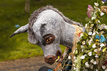solstice: Seattle, Washington - June 18, 2011:  A grey donkey costume and props used by the Chase of Europa ensemble are laid to rest at the end of the 2011 Annual Fremont Summer Solstice Day Parade. The parade celebrates the summer solstice and features a number o