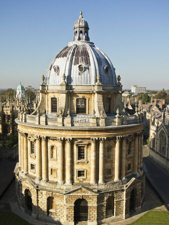 Radcliffe Camera in Oxford, England was built in the Palladian architectural style and completed in 1749. The round building houses one of the libraries of Oxford University.