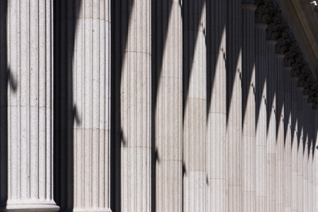 creates: A row of ionic stone columns, or colonnade, creates a classical entrance to the US Post Office in New York City.