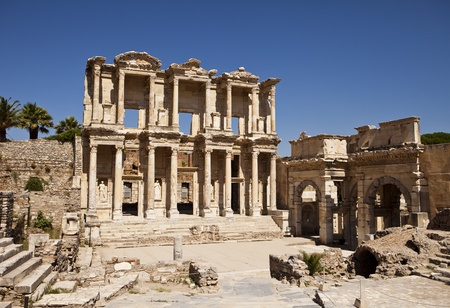 The front facade and courtyard of the library building at Ephesus Turkey