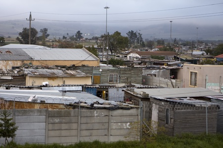 township: Wallaceden, South Africa - August 4, 2008: A view of the township of Wallacedene in South Africa on an overcast day.