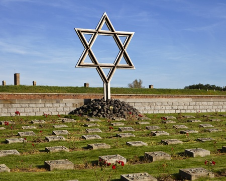 A Star of David  Magen David  standing at a memorial graveyard at the Little Fortress in Terezin  Theresienstadt  in the Czech Republic serves as a reminder of the Jews that lived and died in World War II