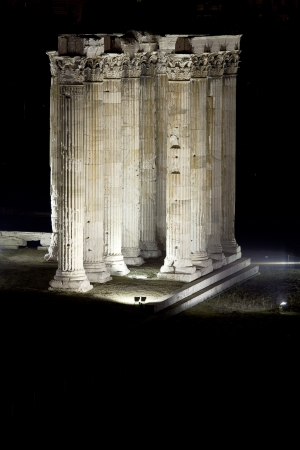 goddesses: the Temple of Zeus in Athens uses the dramatic lighting to highlight the columns that remain as part of the temple