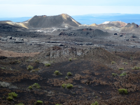 isabel: A cinder cone is visible in the volcanic landscape on the side of the Sierra Negra volcano on Isabel Island in the Galapagos.