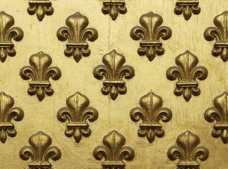 Fleur-de-lis painted in gold in a repeating pattern on a grand entrance to a Paris building  This decorative element represents lilies  or water lotus  is often used a symbol of French royalty