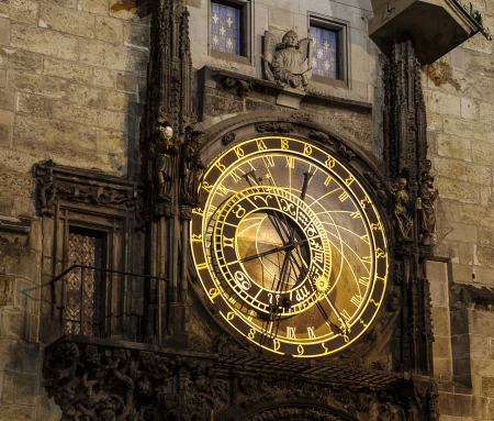 clocktower: The central portion of the Prague Astronomical Clock  the Orloj  in the Czech Republic has four moving components  the zodiacal ring, an outer rotating ring, an icon representing the Sun, and an icon representing the Moon  It is surrounded by 24 gold Schw Stock Photo