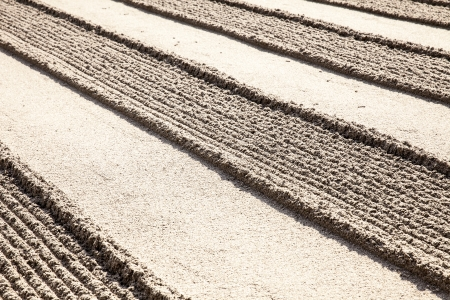 alternating: A traditional raked sand garden shows a geometric rigid pattern of alternating lines of smooth and rough surfaces