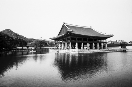 The Kyeonghoe-ru pavilion is part of the Gyeongbok palace complex in central Seoul in South Korea  This building is located in the middle of a small lake