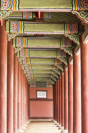 gatehouse: A long corridor in the Gyeongbokgung Palace  Editorial