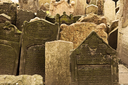cemetery: A section of the old Jewish cemetery in the Josefov section of Prague  Editorial