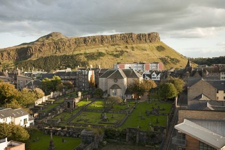 kirk: A view of Edinburgh from Calton Hill looking towards the Salisbury Crags in Holyrood Park. At the bottom is one of Edinburgh