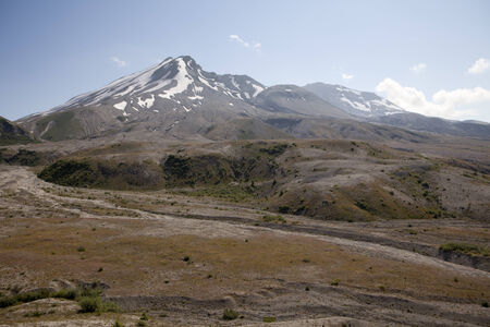 View towards the summit and crater of Mt. Saint Helens including the lava dome  photo