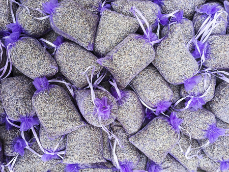 sachet: Lavender seeds are sold in purple mesh pouches in order to provide an aromatic sachet as an allnatural room freshener in Provence.