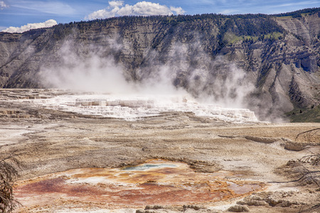 calcium carbonate: Canary Springs is one of the more active hot springs on the main terrace of Mammoth Hot Springs in Yellowstone National Park. The travertine marble is formed from calcium carbonate that comes from the minerals in the water. Stock Photo