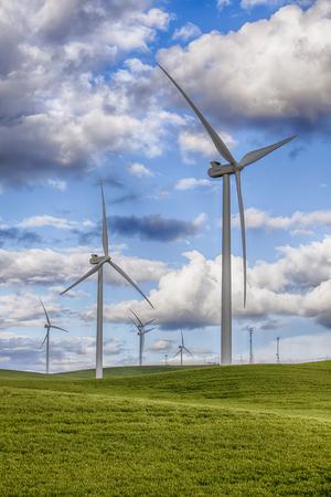 molinos de viento: Molinos de viento modernos crear energ�a limpia utilizando pwer viento en las granjas de trigo y granos en la zona de Palouse del estado de Washington del Este en los EE.UU..