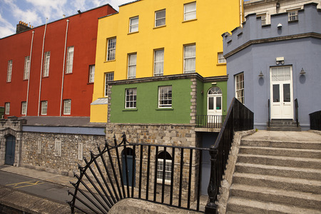 wall paint: The back portion of Dublin Castle near the Chester Beatty Library is painted in bright colors.