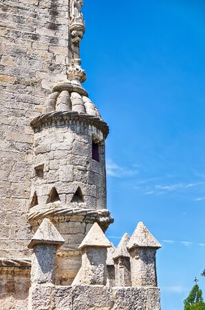 turret: A cupula; or a bartizan turret; fortifies the exterior of the Tower of Belem fortress in Lisbon, Portugal. Stock Photo
