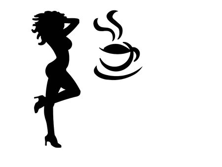 heel: An illustration of a woman in high heels and a buxom figure dancing with a coffee cup. (Isolated to a white background with negative space.)