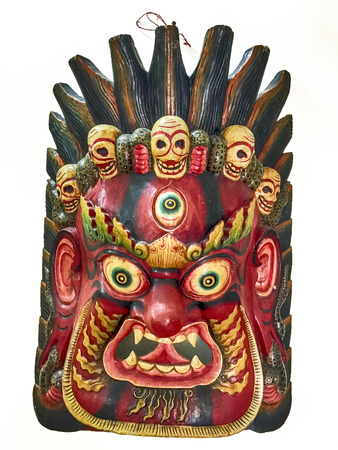 eye protectors: The mask for the Hindu god Mahakala has three eyes and five skulls. He is the consort for Kali and is considered to be a dharamapala or protector deity.